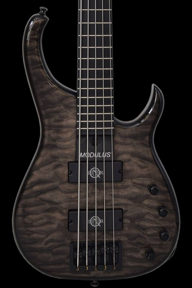 Modulus Bass Quantum 5 fitted with a calibrated set of custom made neodymium Q-tuner q20 Ultra HD pickups