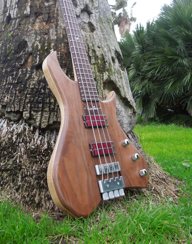 Corpus Vesuvius 4 string bass equipped with Q-tuners made by Chitarre lodato