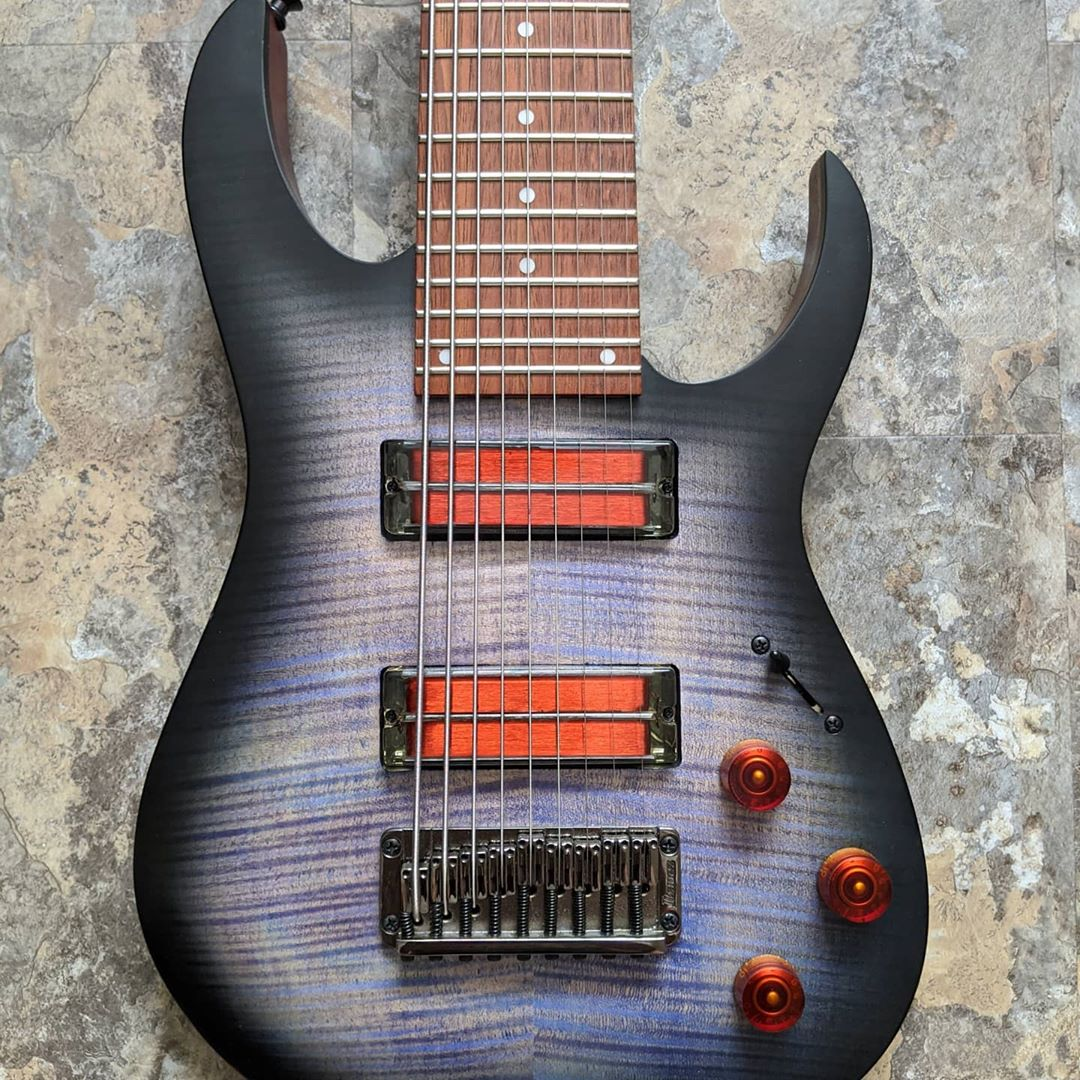 Ibanez 9 string guitar with transparent q-tuner neodymium pickups