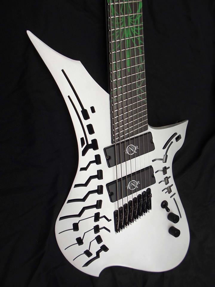 Azwen carbon 8 string by Etherial Guitars fitted with ultra-responsive neodymium Q-tuner q2.0 pickups.