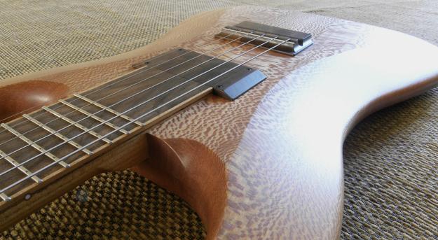 Halflight Guitars Naiad English Lacewood 2017 neck angle w q-tuner pickups