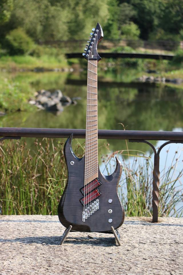 Multi-scale fanned fret 7 string guitar made by Go Takigawa equipped with transparent neodymium Q-tuner q2.0 soapbars