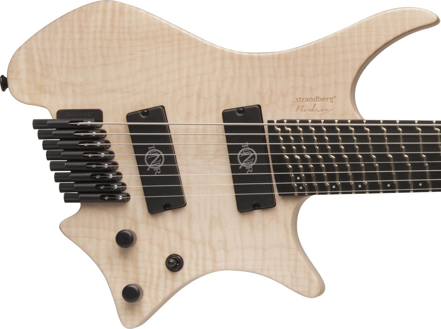 Strandberg Boden 8 string guitar equipped with q-tuner neodymium pickups.