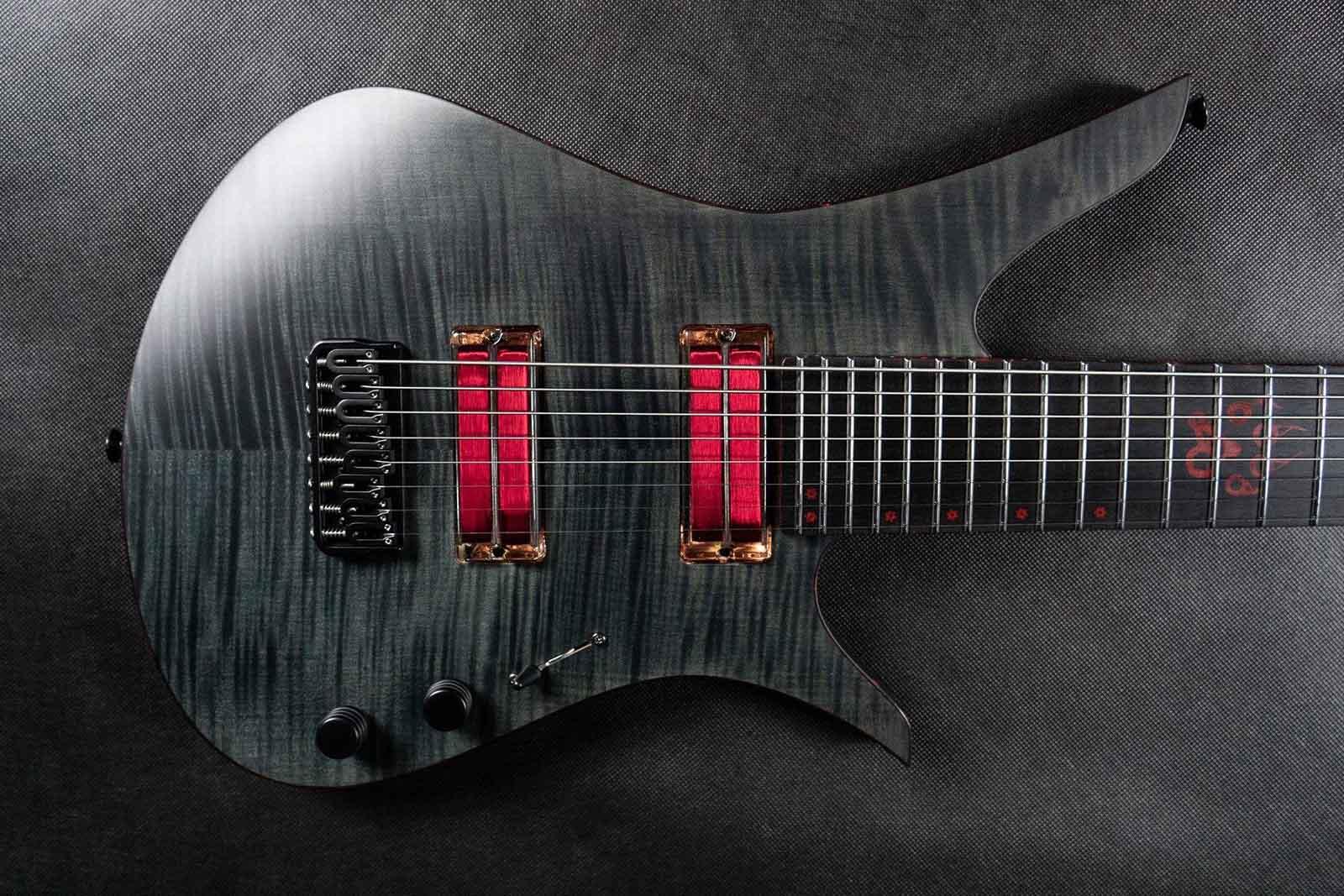 Beautiful Blackat guitar made by Tomek Sławiński with transparent neodymium q-tuners q2.0 neodymium pickups